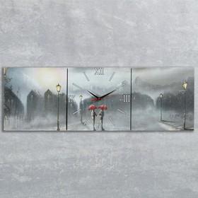 Часы-картина настенные, серия: Люди, 'Двое под дождем', 35х105  см, микс Ош