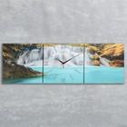 Часы-картина настенные прямоугольные «Лесной водопад», 35 × 105 см