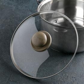 Крышка для сковороды и кастрюли стеклянная JARKO, d=24 см, ручка МИКС