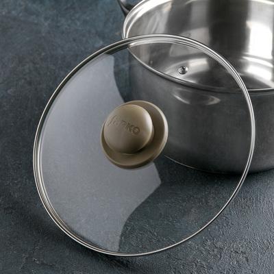 Крышка для сковороды и кастрюли стеклянная, d=24 см, ручка МИКС - Фото 1