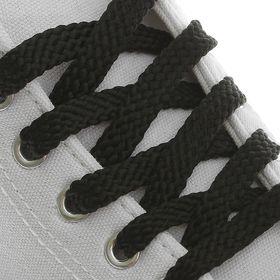 Шнурки для обуви, плоские, 8 мм, 70 см, цвет чёрный