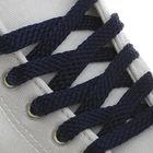 Шнурки для обуви плоские, 8 мм, 90 см, пара, цвет тёмно-синий