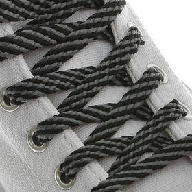 Шнурки для обуви, плоские, 8 мм, 90 см, пара, цвет чёрно-серый Ош