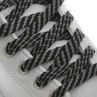 Шнурки для обуви, плоские, 8 мм, 100 см, пара, цвет чёрно-серый
