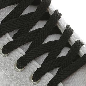 Шнурки для обуви, плоские, 8 мм, 120 см, пара, цвет чёрный Ош