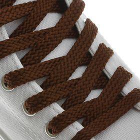 Шнурки для обуви плоские, 8 мм, 130 см, пара, цвет коричневый