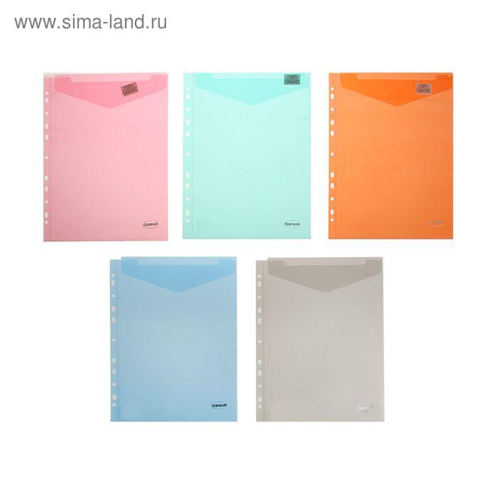 Папка-конверт А4, 180 мкм, вертикальная с перфорацией, МИКС