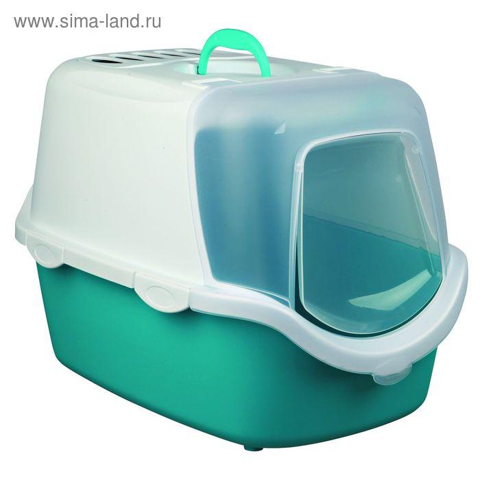 Туалет-домик Trixie Vico Easy Clean , 40 х 40 х 56 см, бирюзовый/белый