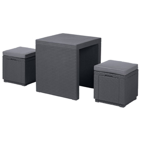 Комплект мебели (ротанг) ARIZONA SET Curver, стол антрацит/серый полиэстер Ош