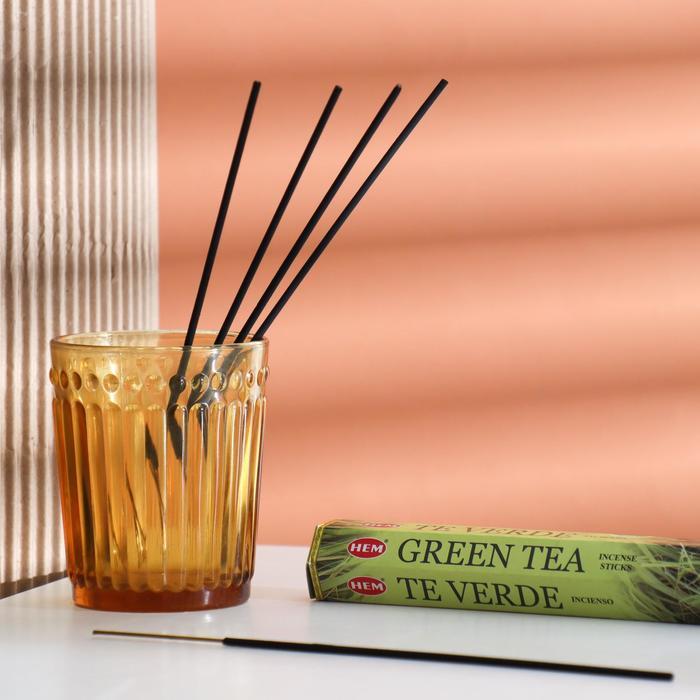"""Благовония HEM """"Green Tea. Зеленый Чай"""", 20 палочек в упаковке, шестигранник"""