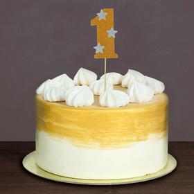 """Топпер для торта """"1"""", цвет золотой"""