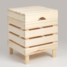 Ящик для белья из дерева 'Табурет-2', 40×40×52см, 'Добропаровъ' Ош