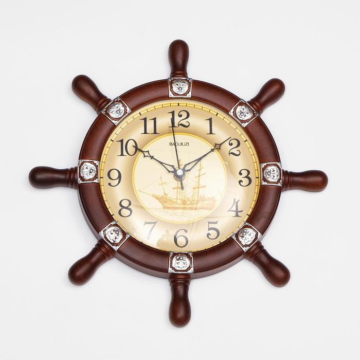 Часы настенные, серия Море, Штурвал, плавный ход, 34 х 34 см, d18.5 см
