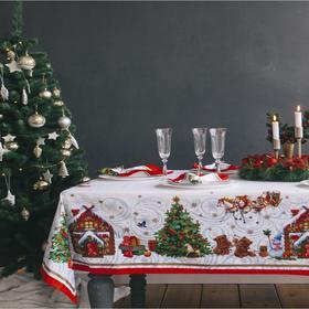 купить Набор столовый Новогодняя сказка скат.150х220см -3см с ГМВО, салф.40х40см-12 шт, хл100