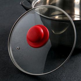 Крышка для сковороды и кастрюли стеклянная JARKO, d=22 см, ручка МИКС