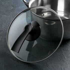 Крышка для сковороды и кастрюли стеклянная JARKO LUX, d=24 см, с пластиковой ручкой