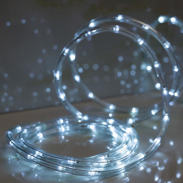 LED шнур 10 мм, круглый, 5 м, чейзинг, 2W-LEDм-24-220V, с контр. 8р, БЕЛЫЙ