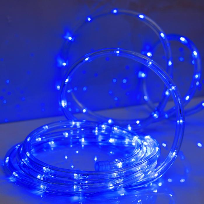 LED шнур 10 мм, круглый, 5 м, чейзинг, 2W-LEDм-24-220V, с контр. 8р, СИНИЙ