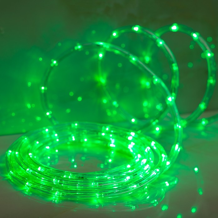LED шнур 10 мм, круглый, 5 м, чейзинг, 2W-LEDм-24-220V, с контр. 8р, ЗЕЛЕНЫЙ