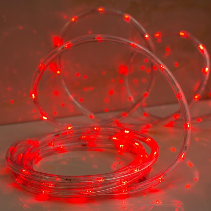 LED шнур 10 мм, круглый, 5 м, чейзинг, 2W-LEDм-24-220V, с контр. 8р, КРАСНЫЙ