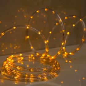 LED шнур 10 мм, круглый, 5 м, чейзинг, 2W-LED/м-24-220V, с контр. 8р, ЖЕЛТЫЙ Ош