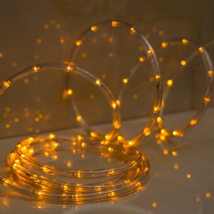 LED шнур 10 мм, круглый, 5 м, чейзинг, 2W-LEDм-24-220V, с контр. 8р, ЖЕЛТЫЙ