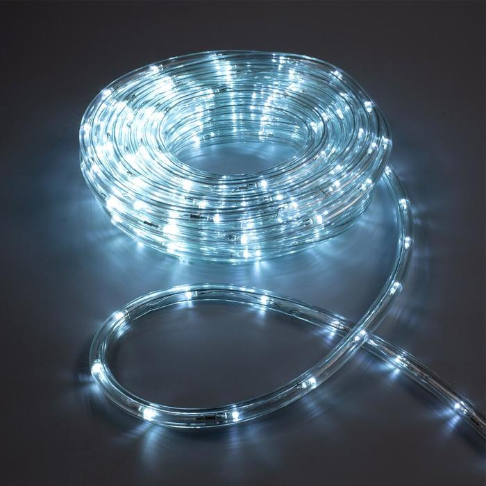 LED шнур 10 мм, круглый, 10 м, чейзинг, 2W-LEDм-24-220V, с контр. 8р, БЕЛЫЙ