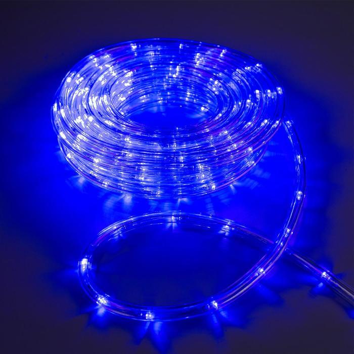 LED шнур 10 мм, круглый, 10 м, чейзинг, 2W-LED/м-24-220V, с контр. 8р, СИНИЙ