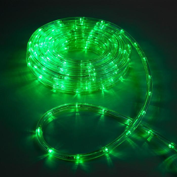 LED шнур 10 мм, круглый, 10 м, чейзинг, 2W-LEDм-24-220V, с контр. 8р, ЗЕЛЕНЫЙ