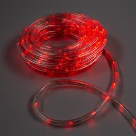 LED шнур 10 мм, круглый, 10 м, чейзинг, 2W-LED/м-24-220V, с контр. 8р, КРАСНЫЙ Ош