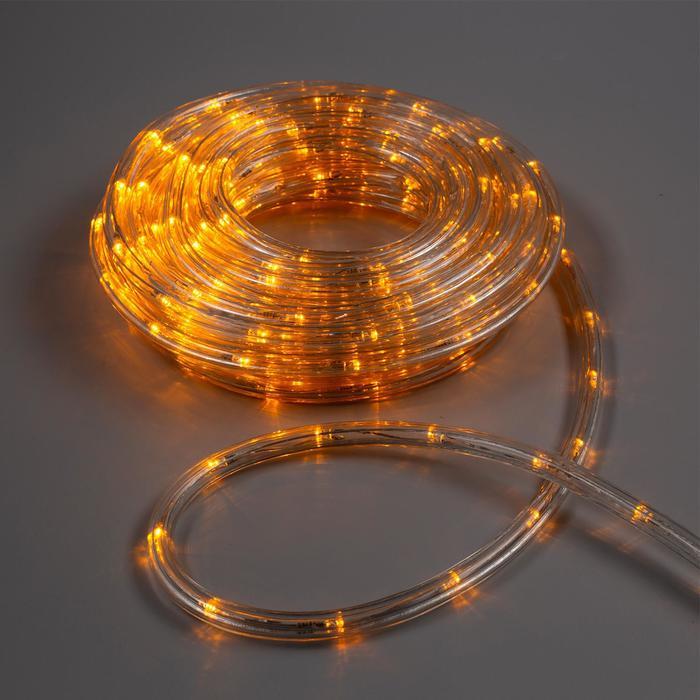 LED шнур 10 мм, круглый, 10 м, чейзинг, 2W-LEDм-24-220V, с контр. 8р, ЖЕЛТЫЙ