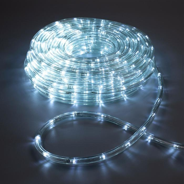 LED шнур 10 мм, круглый, 20 м, чейзинг, 2W-LED/м-24-220V, с контр. 8р, БЕЛЫЙ