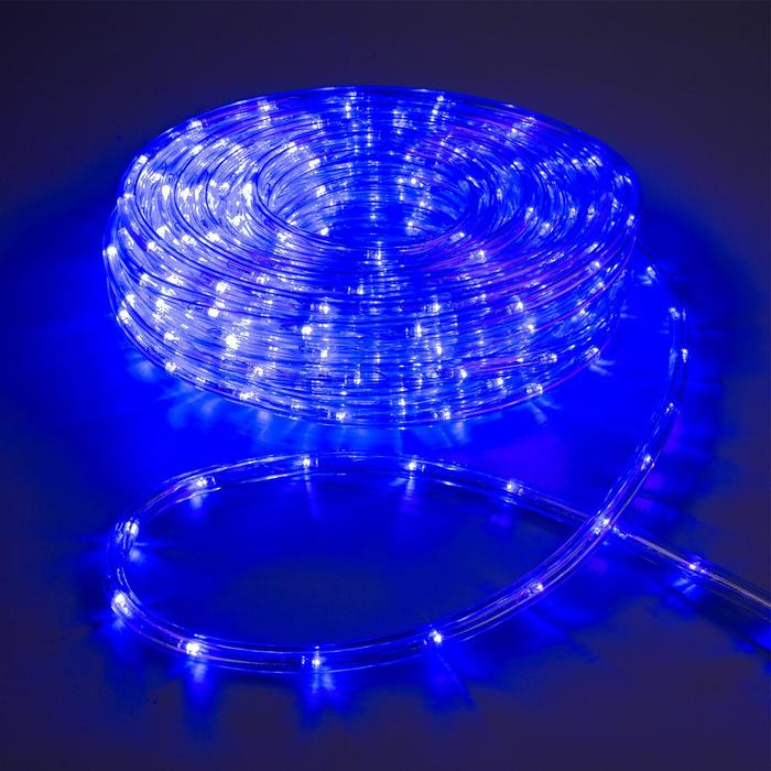 LED шнур 10 мм, круглый, 20 м, чейзинг, 2W-LED/м-24-220V, с контр. 8р, СИНИЙ