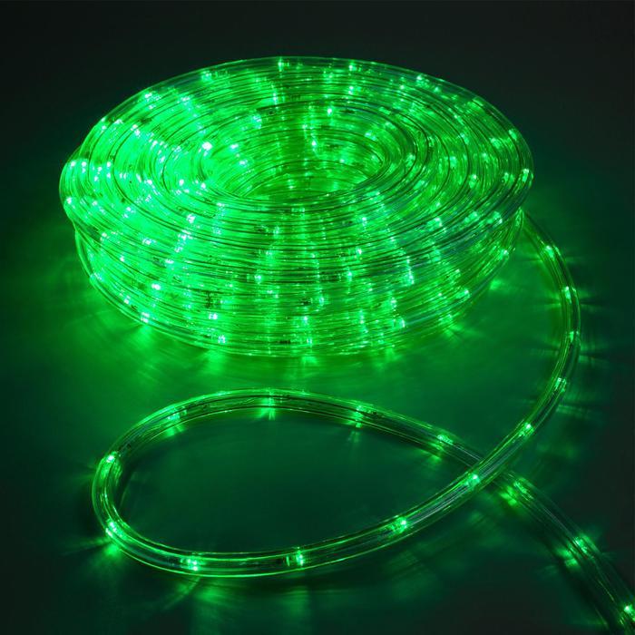 LED шнур 10 мм, круглый, 20 м, чейзинг, 2W-LED/м-24-220V, с контр. 8р, ЗЕЛЕНЫЙ