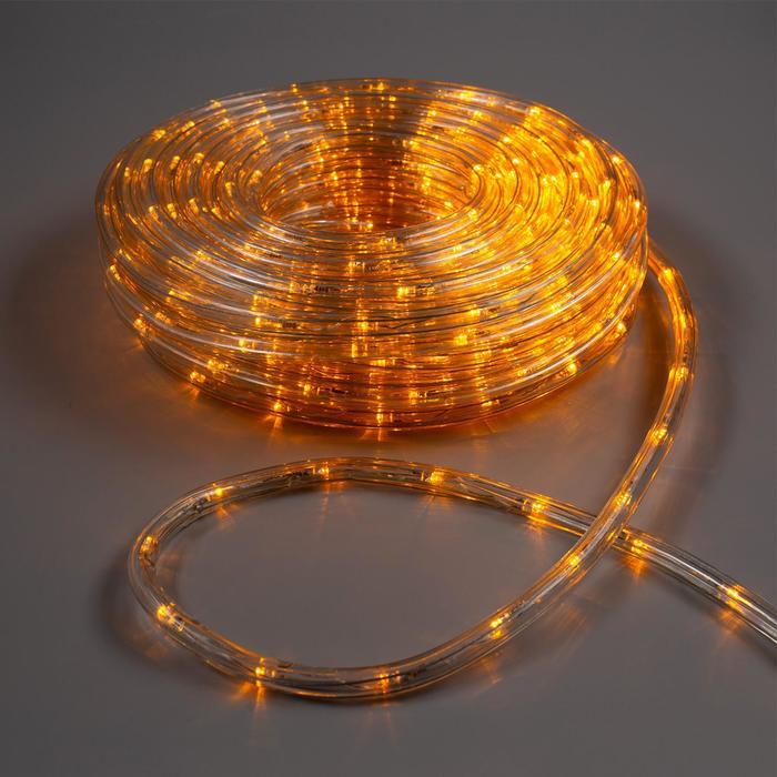 LED шнур 10 мм, круглый, 20 м, чейзинг, 2W-LED/м-24-220V, с контр. 8р, ЖЕЛТЫЙ