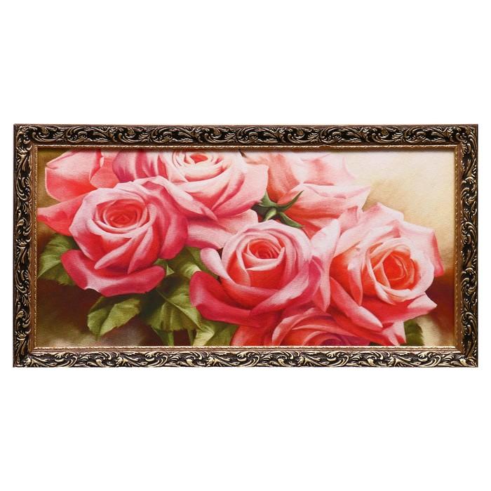 "Гобеленовая картина ""Букет роз"" 45х85 см рамка микс"