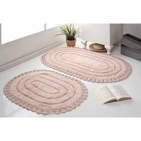 Набор ковриков для ванной MODALIN YANA, 60x100 см, 50x70 см 1600 г/м2, цвет пудра
