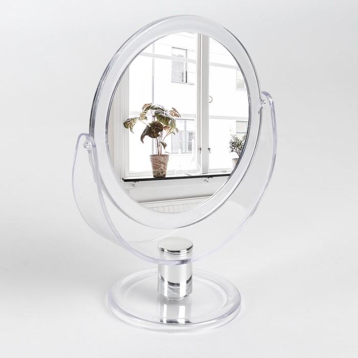Зеркало настольное «Палитра», двустороннее, с увеличением, d зеркальной поверхности — 10,5 см, цвет прозрачный