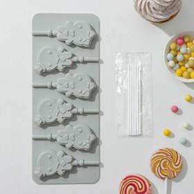 Форма для леденцов и мороженого «Девочка, мальчик», 6 ячеек, 24×9,5 см, с палочками Ош