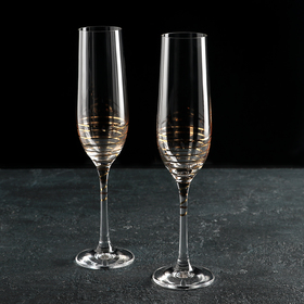 Набор бокалов для шампанского Bohemia Crystal «Золотая спираль», 190 мл, 2 шт