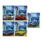 """Тетрадь 12 листoв линейка """"Машины на синем фоне"""", обложка картон хромэрзац, 5 видов МИКС"""
