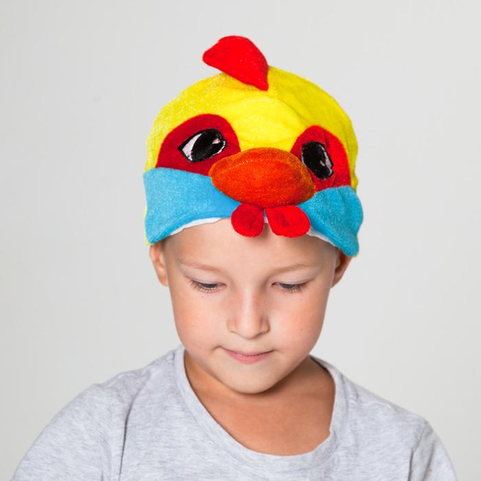 Шапка Петушок с голубыми щеками обхват головы 52-57см