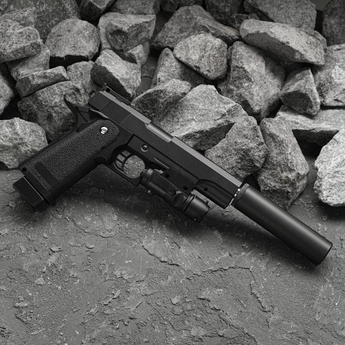 Пистолет пружинный Galaxy Colt 11PD с имитацией глушителя и ЛЦУ G.6A