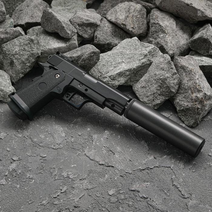 Пистолет пружинный Galaxy Colt 1911PD G.10A с имитацией глушителя