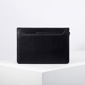 Папка деловая, отдел с перегородкой на молнии, 2 ручки, наружный карман, цвет чёрный