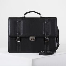 Сумка-портфель мужская на молнии, 3 отдела, длинный ремень, цвет чёрный