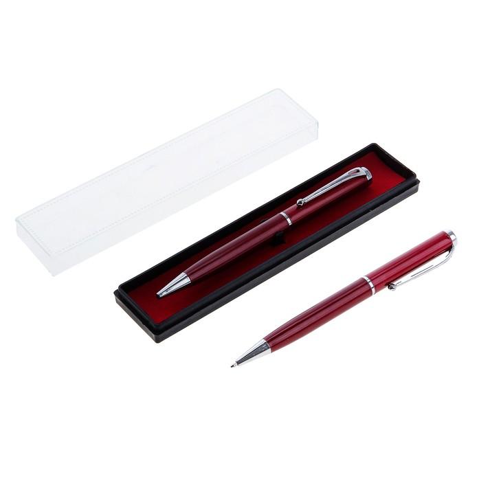 Ручка шариковая, подарочная, поворотная, в пластиковом футляре, бордовая с серебристыми вставками, «Оригинал»