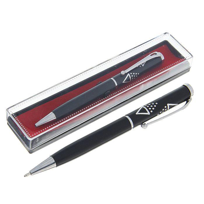 Ручка шариковая, подарочная, поворотная, в пластиковом футляре, чёрная с серебристыми вставками, «Стиль»