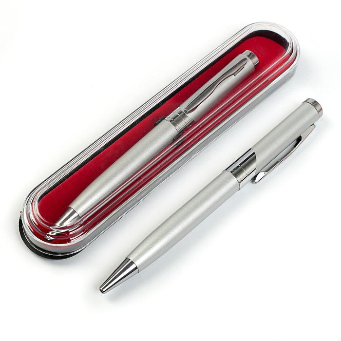 Ручка шариковая, подарочная, поворотная, в пластиковом футляре, серебристая, «Бизнес»
