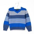 Джемпер для мальчика, рост 92 см (52), цвет синий, принт полоска